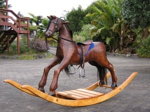 Large English rocking horse on bow rocker without step