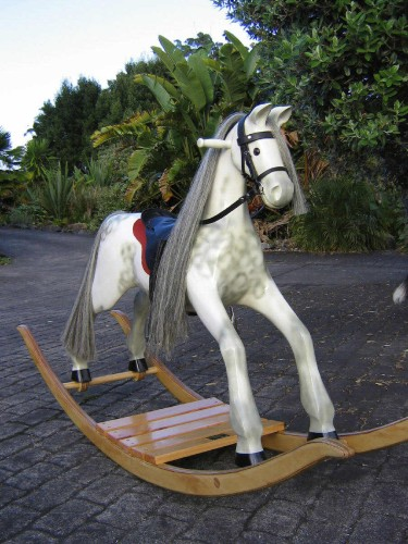 Large heirloom rocking horse, dapple grey on bow rocker
