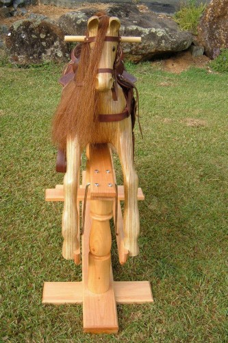 Large heirloom rocking horse, natural coloured, front view