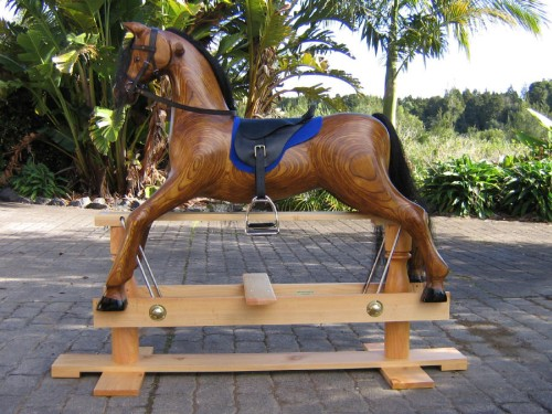 Large heirloom rocking horse, oak colour, english saddle