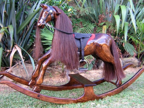 Large rocking horse - amber with brown mane and tail