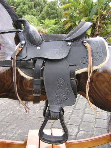 Large rocking horse, western saddle detail