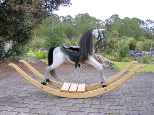 Medium rocking horse, dapple on bow rocker