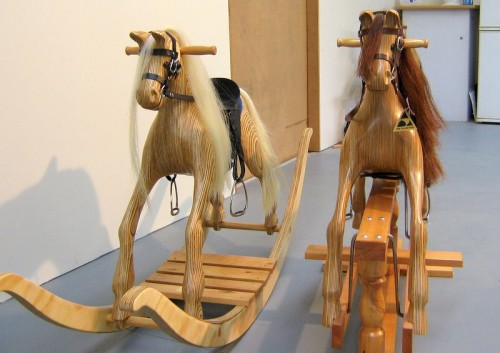 Medium rocking horses on swing stand and bow rocker