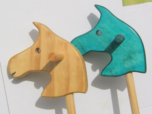 Natural and Blue Hobby Horses